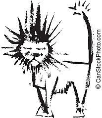 lion, éclaboussure