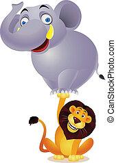 lion, éléphant