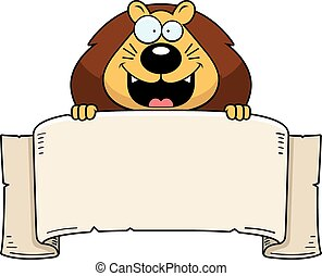 lion, bannière, dessin animé