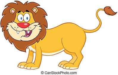 lion, caractère, dessin animé, mascotte