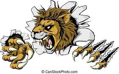 lion, casser, dehors