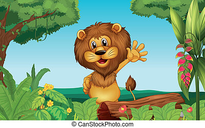 lion, forêt, heureux