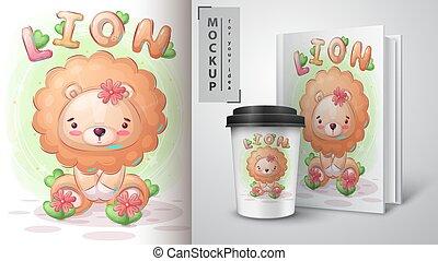lion, joli, affiche, merchandising.