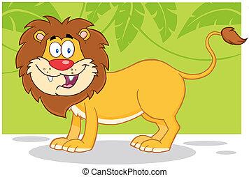 lion, jungle, fond, heureux