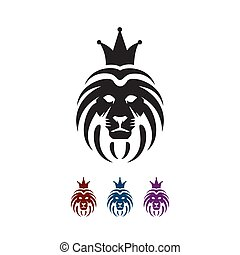 lion, logo, grand, fierté, symbole, vecteur, tête, signe, puissance, elemen