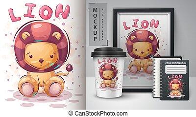 lion, merchandising., mignon, affiche