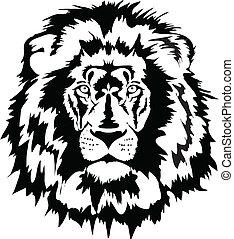 lion, noir, tête