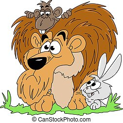 lion, regarder, lapin, autour de, vecteur, singe, dessin animé, illustration, forêt