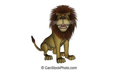 lion, séance, dessin animé, roaring.