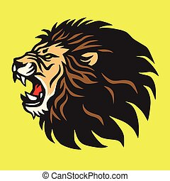 lion, vecteur, conception, gabarit, logo, rugir, mascotte