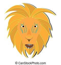 lion, vecteur, gabarit, sauvage, logo, icône