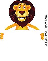 lion, vide, dessin animé, signe