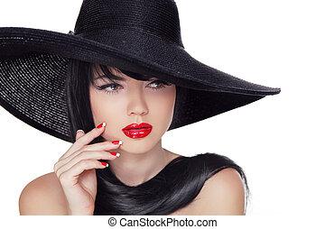 lipstick., modèle, style, mode, beauté, clous, manucuré, isolé, arrière-plan., noir, hat., blanc, girl, rouges, vogue