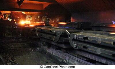liquide, métal, ligne, remplissage, production, masse, moules