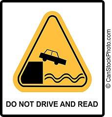 lire, pas, avertissement, conduire