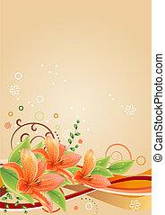 lis, éléments, printemps, cadre, beige, résumé