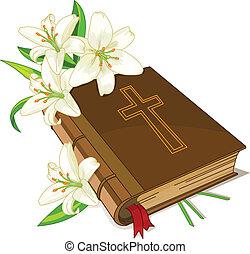 lis, bible, fleurs