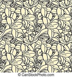 lis, seamless, printemps, fond, fleurs, monochrome