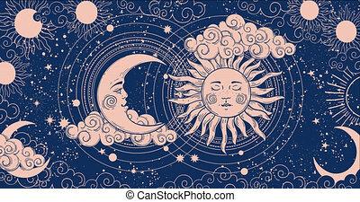 lisser, astrologie, vidéo, étoiles, céleste, arrière-plan., lune, dessin animé, esotericism., fond, animation, tarot, 4k, magie, croissant, figure, rendering.