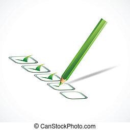 list., vecteur, vert, chèque, illustration