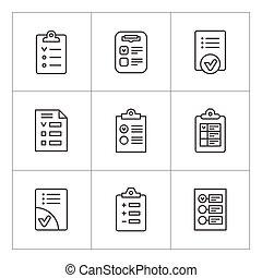 liste contrôle, ligne, ensemble, icônes