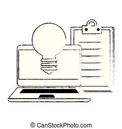 liste contrôle, ordinateur portable, ampoule, lumière