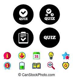 liste contrôle, symbole., icons., interroger, marque, chèque