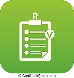 liste, icône, vert, chèque, numérique
