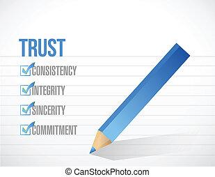 liste, illustration, marque, conception, confiance, chèque