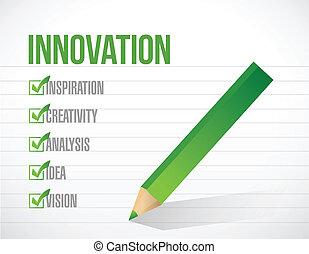 liste, illustration, marque, conception, innovation, chèque