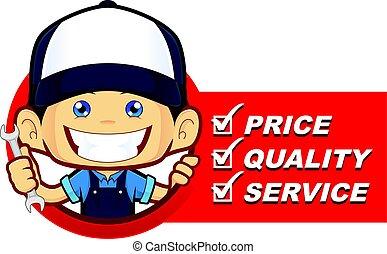 liste, mécanicien, service
