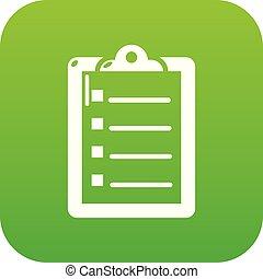 liste, vecteur, vert, chèque, icône