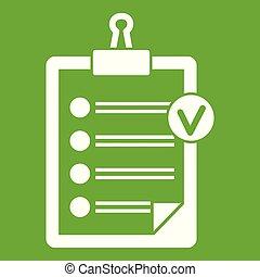 liste, vert, chèque, icône