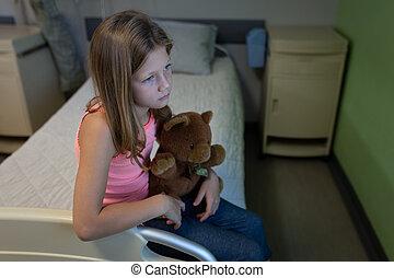 lit, hôpital, girl, patient, désordre, séance, clinique