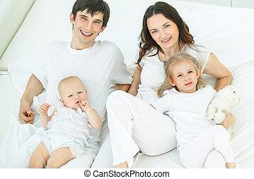 lit, heureux, chambre à coucher, portrait, famille