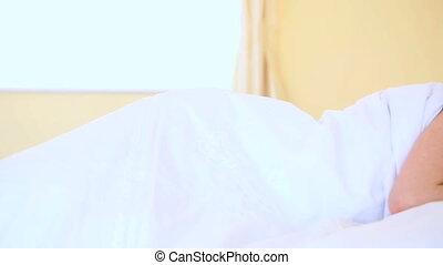 lit, joli, femme, dormir