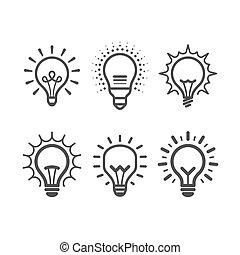 lit, lumière, ensemble, ampoule, icônes
