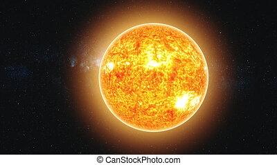 lit, soleil, réduire, zoom, mouvement rapide, vue, la terre, dehors