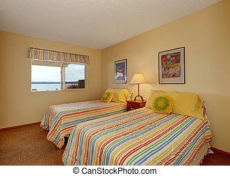 lits, literie, deux, gai, unique, chambre à coucher