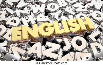 littérature, lettres, langue, illustration, écriture, anglaise, mot, 3d