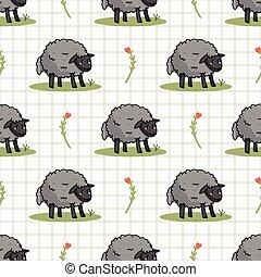 livestock., animal, agriculture, brebis, wooly, pattern., chèque, mouton, arrière-plan., dessin animé, toile fond., vecteur, tout, copie main, mignon, sur, ferme, dessiné, seamless, gris, fleur, champ