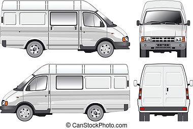 livraison, cargaison, fourgon, /, passager