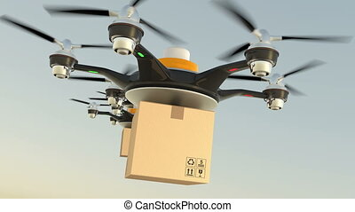 livraison, cargaisons, carton, bourdons