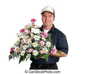 livraison, fleur, amical, homme