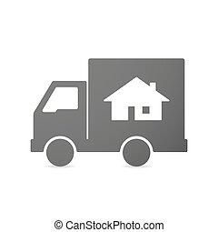 livraison, maison, camion, isolé, icône