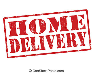 livraison, maison, timbre
