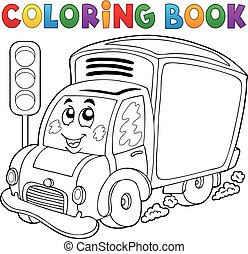 livraison, mignon, livre coloration, voiture
