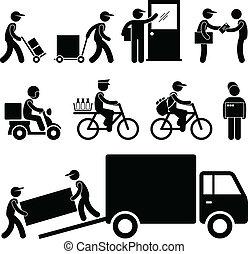 livraison, poste, facteur, courrier, homme