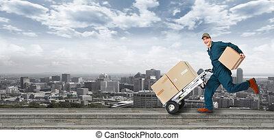 livraison, postman., courant