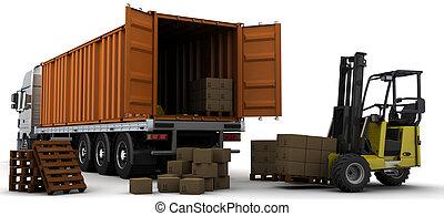 livraison, récipient, fret, véhicule